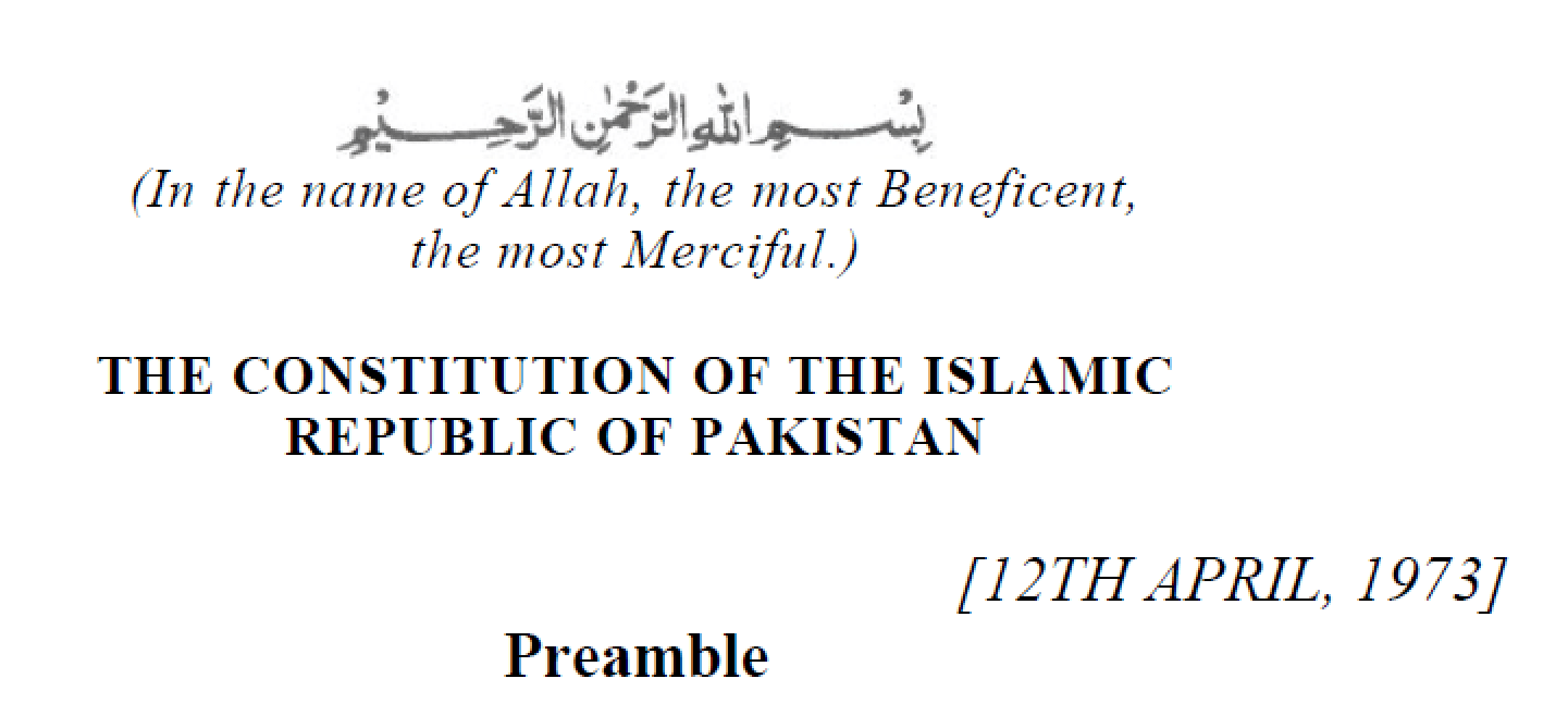 the-constitution-of-islamic-republic-of-pakistan-1973-preamble